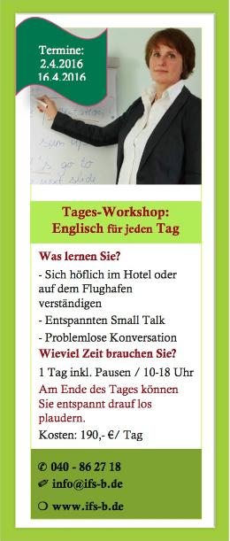 2016-2-29 Englisch Workshop am Institut für Sprachen in Blankenese
